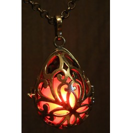 Red Drop Glowing Orb Pendant Necklace Locket Antique Bronze