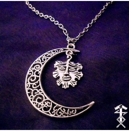 Half Moon, Green Man Necklace