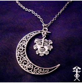 Half Moon, Green Man Necklace
