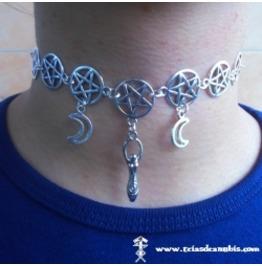 Pentagram Trilune Choker