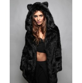 Black Cat Hooded Faux Fur Coat Cxa565cw Read Full Desc B 4 U Buy!