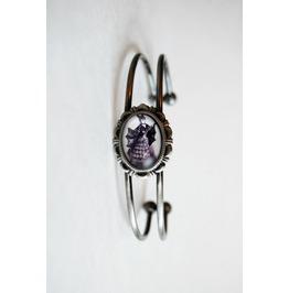 Handmade Victorian Bat Lady Cameo Cuff Bracelet
