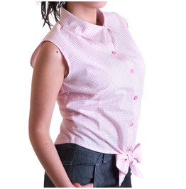 Lazy Brickie Gingham Sleeveless Shirt Bow Rockabilly Pink Pin Up Vintage