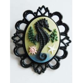 Handmade Sea Horse Cameo Brooch