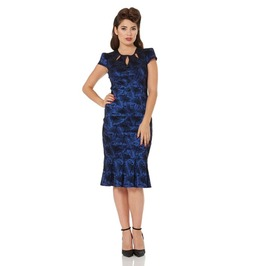 Voodoo Vixen Correna Blue Heron Print Slinky Wiggle Dress