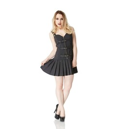 Jawbreaker Bold Buckles Bondage Pleated Minidress