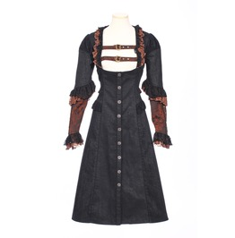 Rq Bl Steampunk Lace Ruffles Women Overcoat Sp153