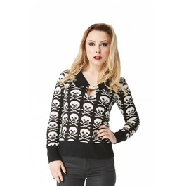 Alternative Punk Goth Rock Long Sleeved Knitted Top With Skull Pattern