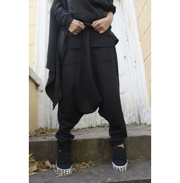 Black Loose Harem Pants / Maxi Pants With Large Pockets / Drop Crotch Pants