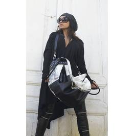 Black And White Maxi Bag / Oversize Leather Tote Bag / Fringe Tassel Bag
