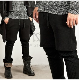 Black Knit Leggings Sweatpants 131
