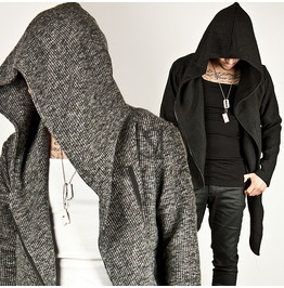 Diagonal Zipper Accent Asymmetric Knit Cotton Zip Up Hoodie 68