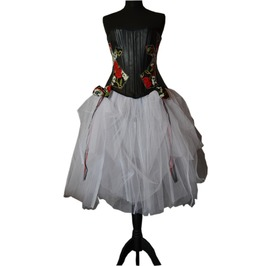 Amazing & Freaky Faux Leather Corset & Skirt Goth Gothic Wedding Gown Dress