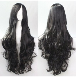 Licorice Black Long Synthetic Scene Wig