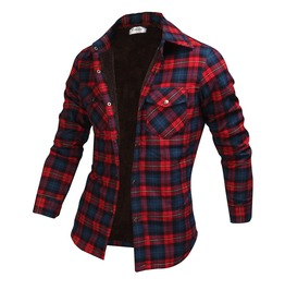 Long Sleeve Winter Checked Plush Shirt Ncm849 S