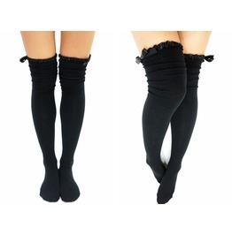 Satin Trim Lace Bow Side Thigh High Boot Socks Black