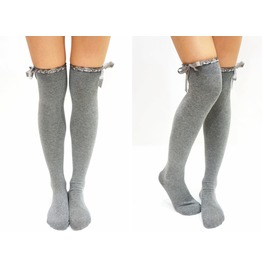 Satin Trim Lace Bow Side Thigh High Boot Socks Grey