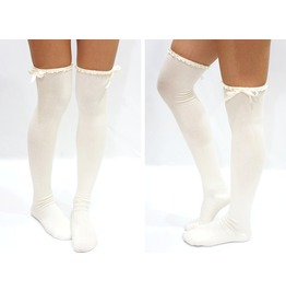 Satin Trim Lace Bow Side Thigh High Boot Socks White
