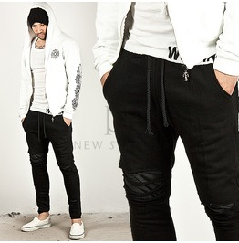 Distressed Laser Cutting Accent Slim Black Sweatpants 133
