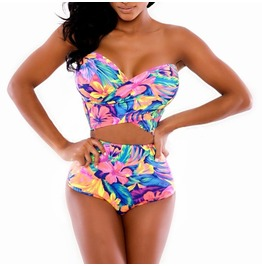 Floral Print High Waisted Swimwear