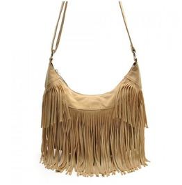 Retro Tan Boho Fringed Handbag
