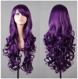 Joker Purple Long Curled Ends Synthetic Scene Wig