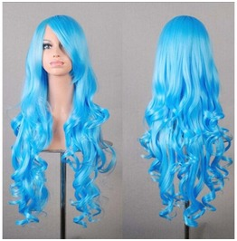Sweet Tart Blue Long Synthetic Cosplay Wig Curled Ends