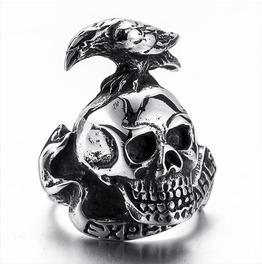 Men's Stainless Steel 316 L Expandable Skull Ring