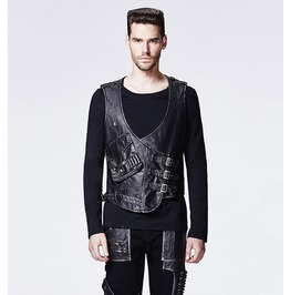 Mens Goth Pu Leather Black Vest