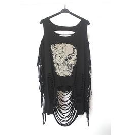 Women's Skull Printed Slashed Black Punk Sweater