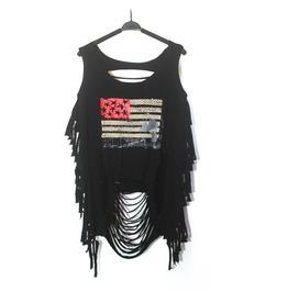 Women's American Flag Printed Slashed Black Punk Sweater