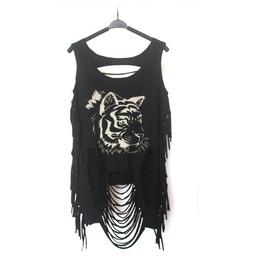 Women's Lion Printed Slashed Black Punk Sweater