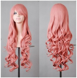 X X One In The Pink Xx Long Curled Scene Wig Kankelon Synthetic