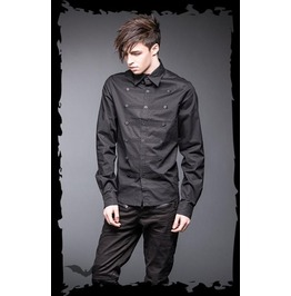 Black Military Dress Shirt With 3 Button Design $9 Worldwide Shipping