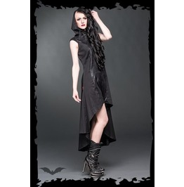 Long Black Hooded Gothic High Collar Dress Ships Worldwide $9
