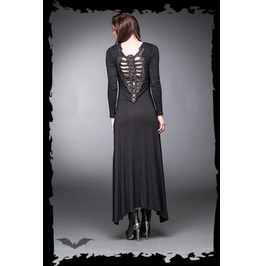 Long Black Gothic Ribcage Backed Long Sleeve Dress