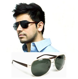 Stylish Wood Temple Aviator Sunglasses 01