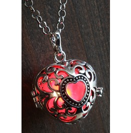 Red Heart Glowing Orb Pendant Necklace Locket Antique Silver