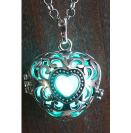Teal Heart Glowing Orb Pendant Necklace Locket Antique Silver