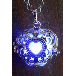 Blue Heart Glowing Orb Pendant Necklace Locket Antique Silver