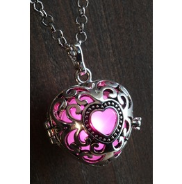 Pink Heart Glowing Orb Pendant Necklace Locket Antique Silver
