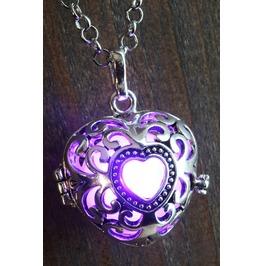 Purple Heart Glowing Orb Pendant Necklace Locket Antique Silver