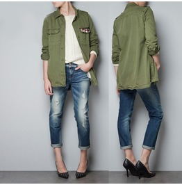 Army Green Wind Jacket With Crystal Brooch