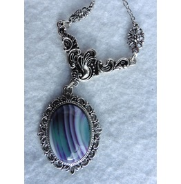 Agate Medallion Necklace, Green, Celadon, Magenta, Purple, Gothic, Elven