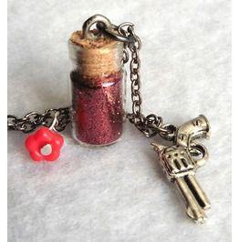Kill Baby, Kill! Necklace Rockabilly, Gothic, Gun, Red, Valentine, Love