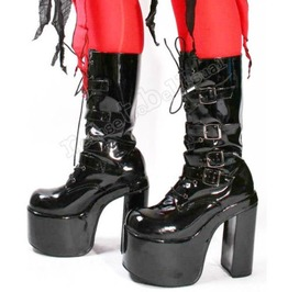 "Goth Punk Visual Kei 4 Strap Buckle Cosplay Pvc Black 6""Platform Calf Boots"