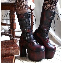 Goth Punk Visual Kei 4 Straps Buckle Cosplay Rub Off Maroon Platform Calf