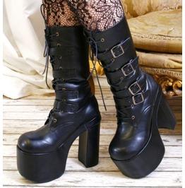 "Goth Punk Visual Kei 4 Strap Buckle Cosplay 6"" Chunky Platform Calf Boots"