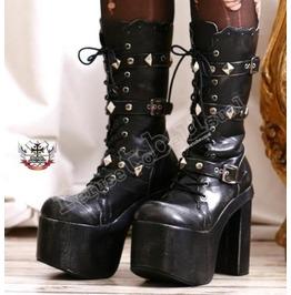 Goth Punk Visual Kei Metal Pyramid Stud Strap Buckle Platform Calf Boots