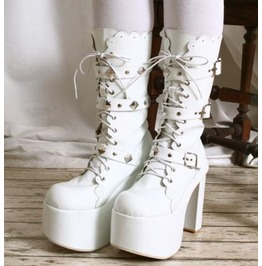 Gothic Punk Visual Kei Strap Buckle Cosplay Platform Calf Show Boot Bridal